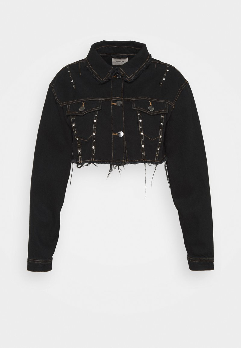 Simply Be - STUDDED CROP JACKET - Denim jacket - black acid
