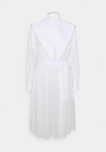 EMBROIDERED DRESS - Shirt dress - white