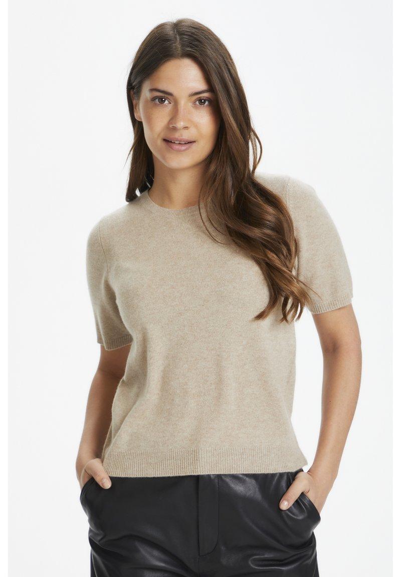 Part Two - EVERLOTTEPW  - Basic T-shirt - light camel melange