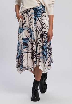 ROCK - A-line skirt - blue/beige/black