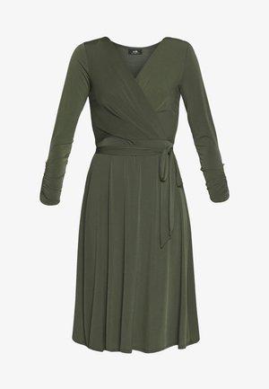 WRAP FIT AND FLARE DRESS - Vestito di maglina - khaki/olive