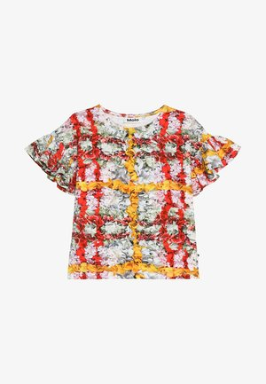 RAYAH - Print T-shirt - mottled light grey/red