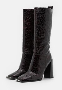 Topshop - TANGO LEG HARDWARE BOOT - High heeled boots - burgundy - 2