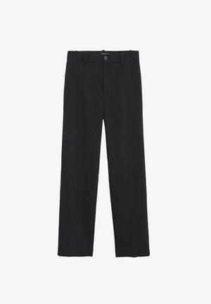 HIGH-WAIST STRAIGHT - Trousers - black