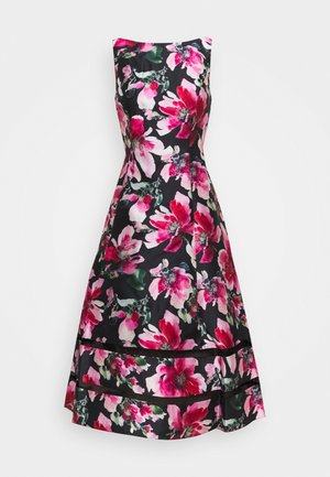 PRINT MIKADO DRESS - Juhlamekko - black/pink