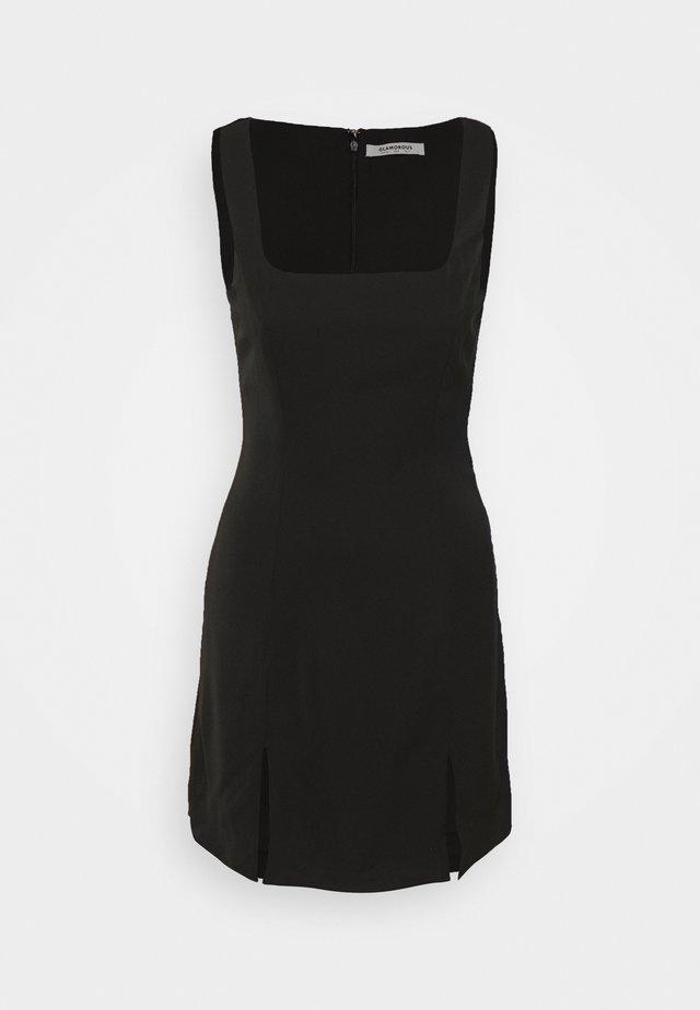 MINI DRESS WITH WIDE STRAPS AND SQUARE NECKLINE - Vestido de tubo - black