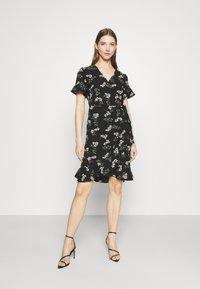 Vero Moda - VMSAGA WRAP FRILL DRESS  - Vestido informal - black - 0