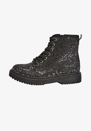 Lace-up ankle boots - metallic black
