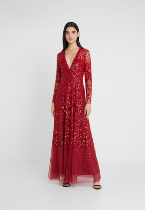 AURORA V-NECK GOWN - Abito da sera - cherry red