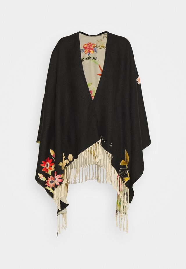 PONCHO FLOWERISH REVE - Cape - black