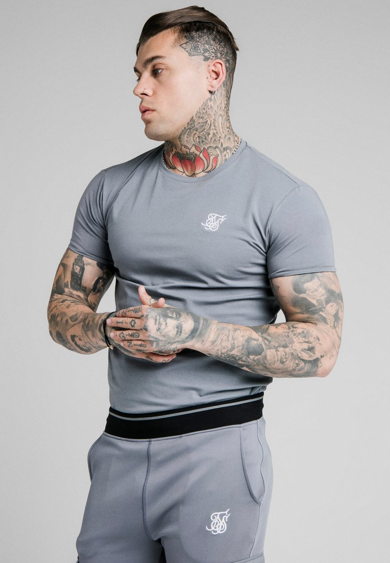 SIKSILK - GYM TEE - Camiseta básica - blue slate