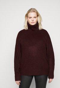 New Look Curves - FASH SLOUCHY ROLL NECK - Jumper - dark burgundy - 0