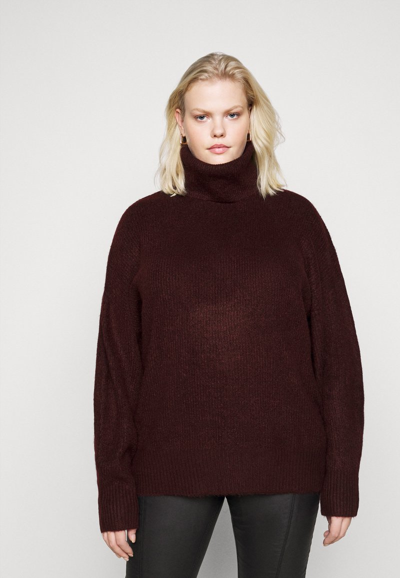 New Look Curves - FASH SLOUCHY ROLL NECK - Jumper - dark burgundy