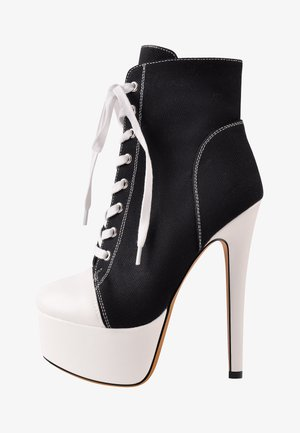 Lace-up ankle boots - black denim