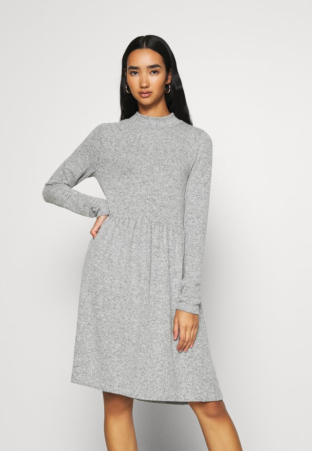 NMALIA BRUSHED DRESS - Jumper dress - light grey melange
