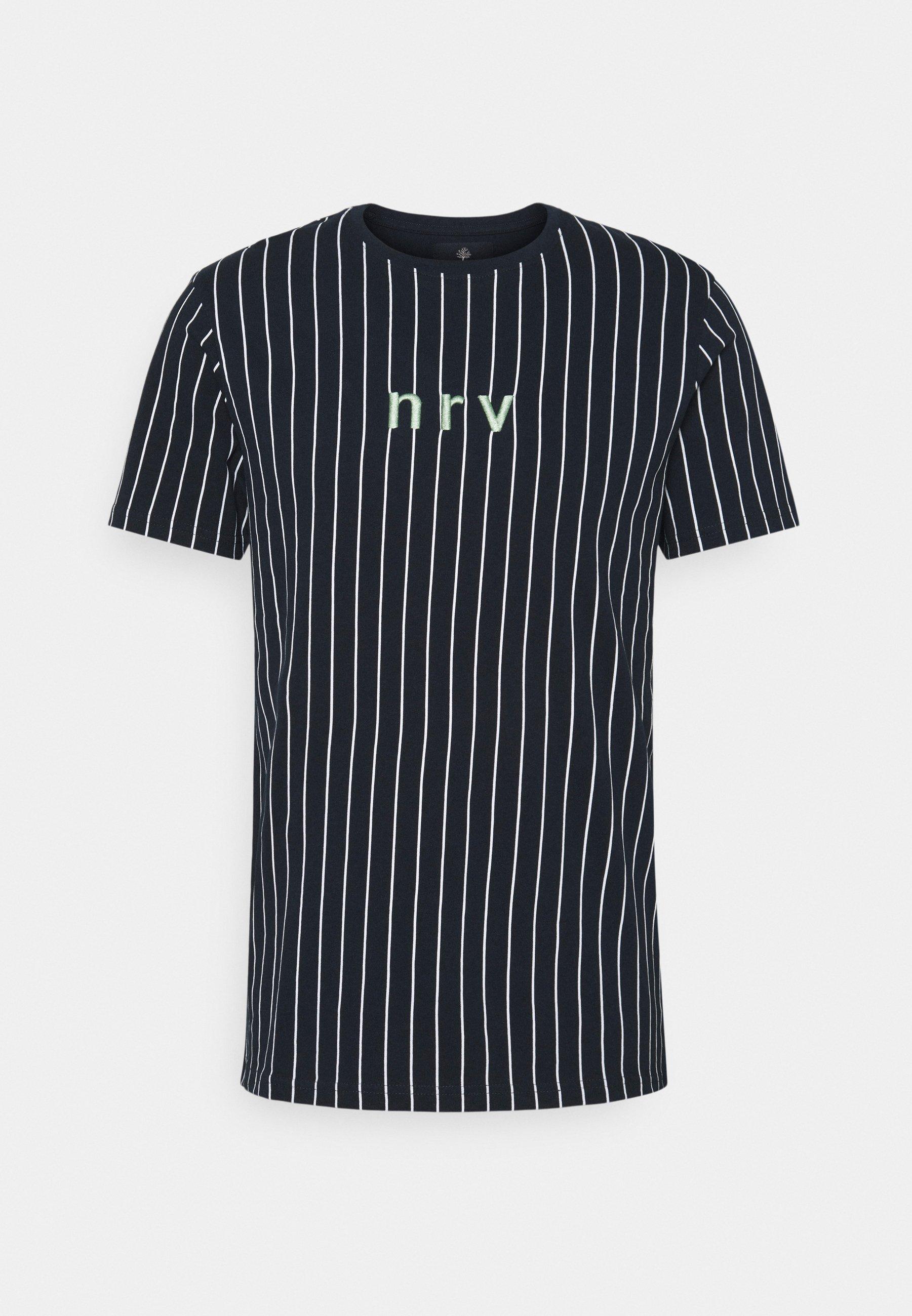 Men SAMIR STRIPE TEE - Print T-shirt - navy