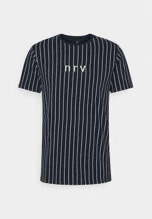 SAMIR STRIPE TEE - Print T-shirt - navy