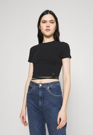 STRAPPY WRAP TEE - T-shirt basic - black
