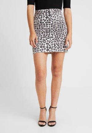 SKIRT - Denim skirt - beige/black