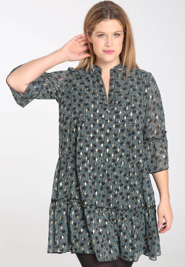 MIT PAISLEY-PRINT UND GOLDFOIL-AKZENTEN - Korte jurk - dark green