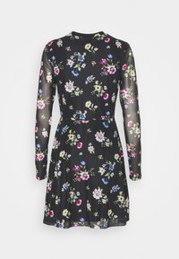 Even&Odd - FLARED ALL OVER MESH MINI DRESS - Day dress - black /blue/rose - 6
