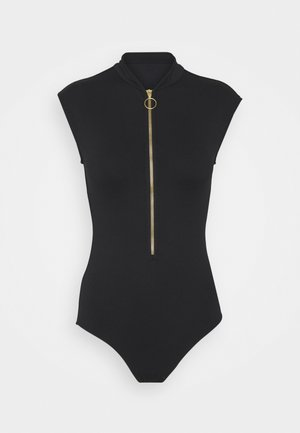 ZIP FRONT MAILLOT - Swimsuit - black