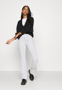 Topshop - TIE FLARE - Tracksuit bottoms - grey marl - 3