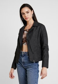ONLY - ONLMEGAN BIKER - Faux leather jacket - black - 0