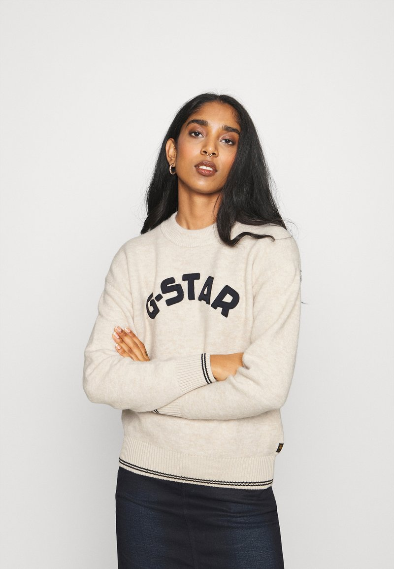 G-Star - COLLEGE GR ROUND LOOSE LLONG SLEEVE - Jumper - whitebait