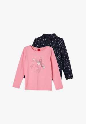 2 PACK - Long sleeved top - navy/light pink