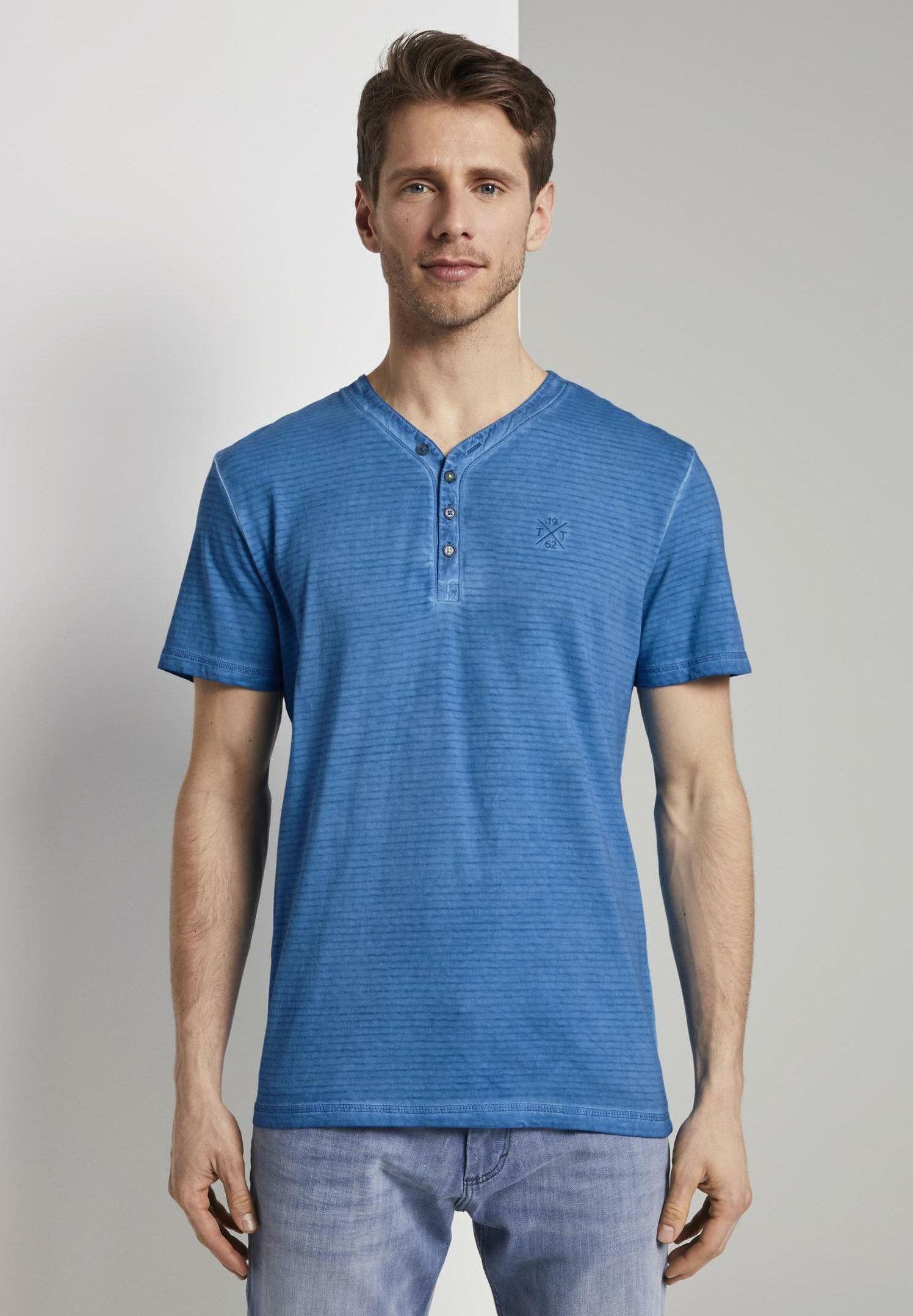 Homme TOM TAILOR T-SHIRT GESTREIFTES HENLEY-T-SHIRT MIT LOGO-STICKEREI - T-shirt imprimé