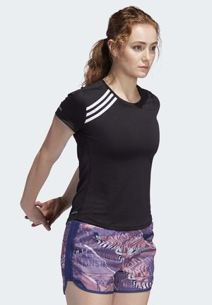 3-STRIPES RUN T-SHIRT - Triko s potiskem - black