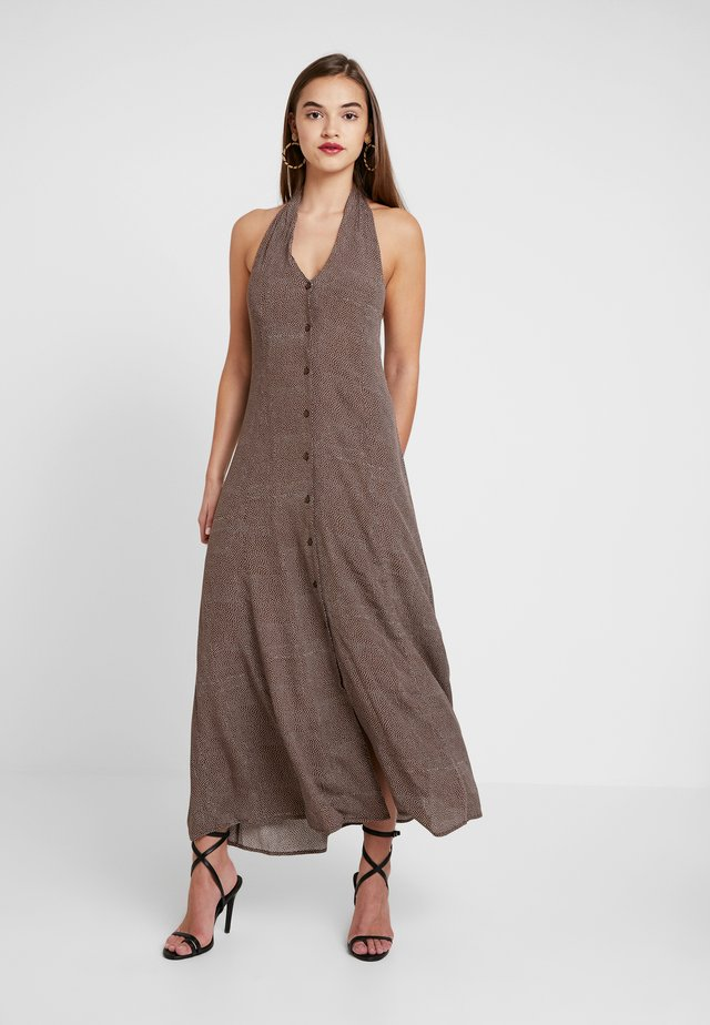 HALTER DRESS SPOT - Maxi dress - brown