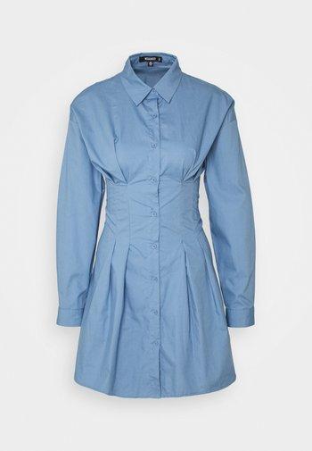CORSET WAIST BACK SHIRT DRESS POPLIN - Skjortekjole - blue