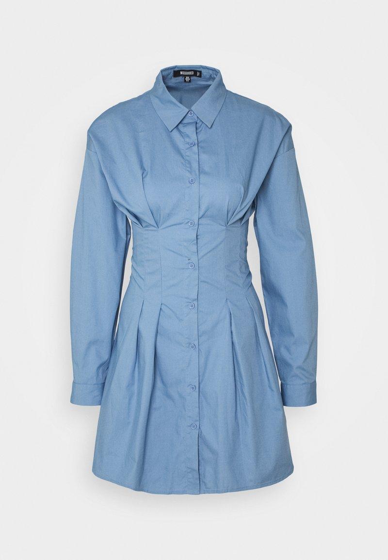 Missguided - CORSET WAIST BACK SHIRT DRESS POPLIN - Shirt dress - blue