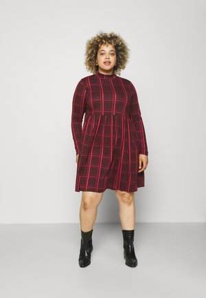 SOFT TOUCH HIGHNECK SMOCK DRESS - Vestido ligero - bordeaux