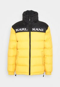 Karl Kani - RETRO BLOCK REVERSIBLE PUFFER JACKET - Veste d'hiver - black/yellow