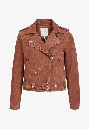 SEASONAL - Faux leather jacket - cognac
