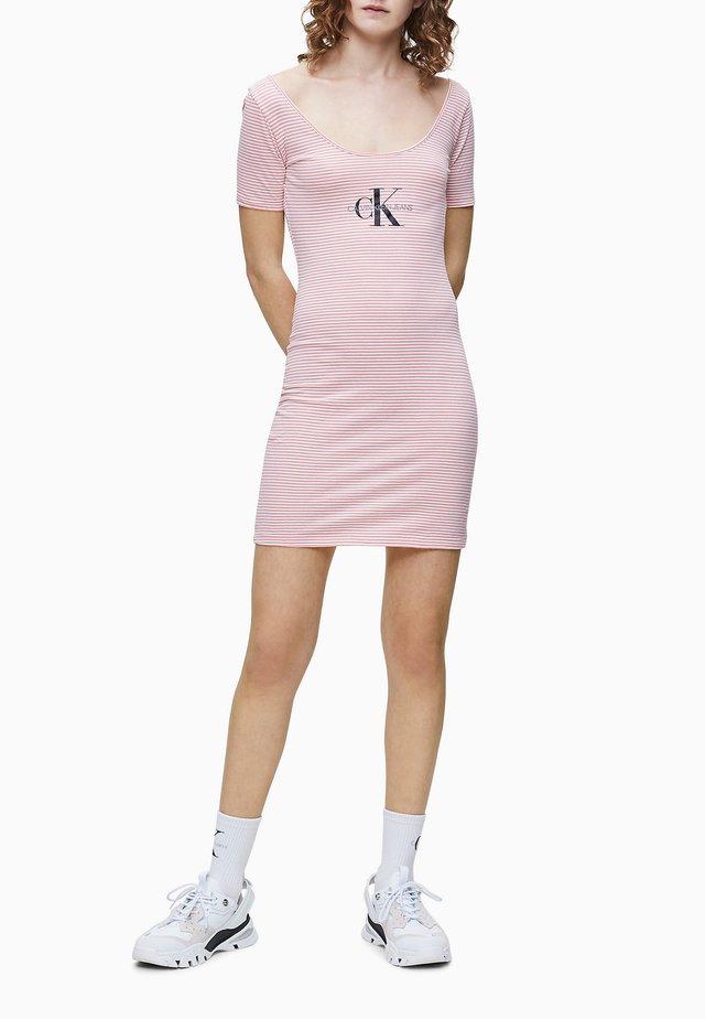 MONOGRAM STRIPE BALLET DRESS - Jersey dress - brandied apricot / white
