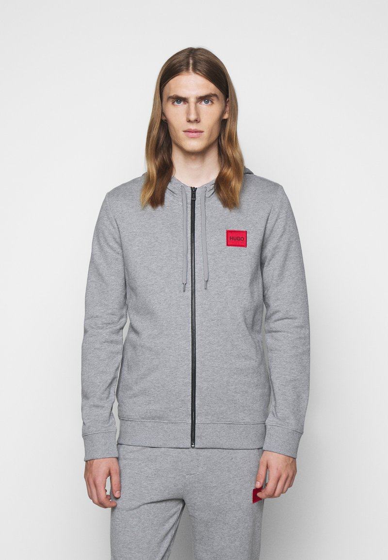 HUGO - DAPLE - Zip-up hoodie - silver
