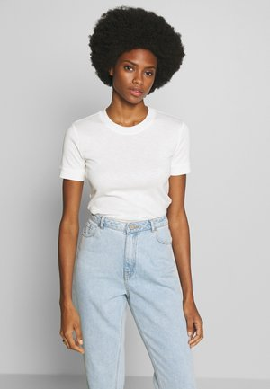 T-SHIRT, SHORT SLEEVE, ROUND NECK - Basic T-shirt - oyster white