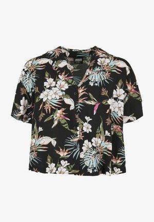 Button-down blouse - black tropical