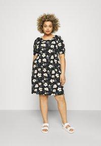 ONLY Carmakoma - BANDANA - Jersey dress - black/yellow - 0