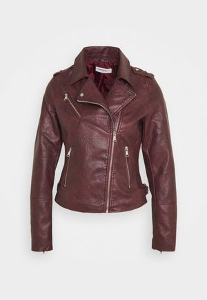 JACKET WITH ZIP DETAIL - Chaqueta de cuero sintético - burgundy