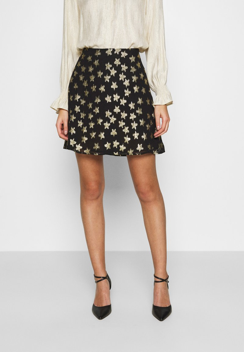 Fabienne Chapot - LOT SKIRT - Mini skirt - black/gold