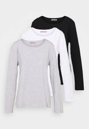 3 PACK - T-shirt à manches longues - black/white/mottled light grey