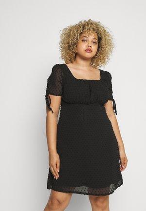 DOBBY TIE SLEEVE MINI DRESS - Sukienka letnia - black