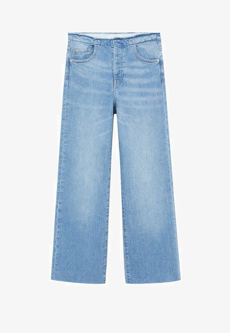 Mango - FRAYED - Flared Jeans - medium blue