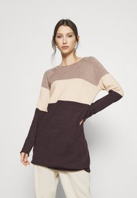 ONLY - ONLLILLO DRESS - Pletené šaty - woodsmoke/oatmeal mel/chicory coffe - 0