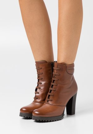 LEATHER - High heeled ankle boots - dark brown